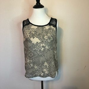 Cozy Casual Black Lace Sleeveless Sheer Blouse